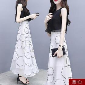 夏季新款雪纺无袖中长款假两件修身印花长裙气质名媛连衣裙女XFL057