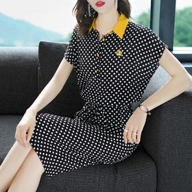 夏季宽松显瘦直筒简约圆点气质衬衫领连衣裙HMJ9685
