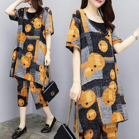 夏季韩版宽松印花短袖上衣休闲时尚七分裤两件套HMJ8289