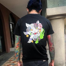 【妖怪研究所】原创 高品质纯棉T恤 百鬼夜行系列之铃铛猫又
