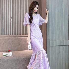 优雅纯色蕾丝修身包臀气质鱼尾长裙 货号HBLJR6639