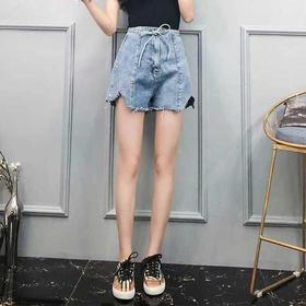 时尚百搭不规则系带高腰牛仔阔腿短裤 货号GZ883828