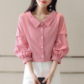 夏季单排多扣灯笼袖时髦格子衬衫 货号LWQY3297