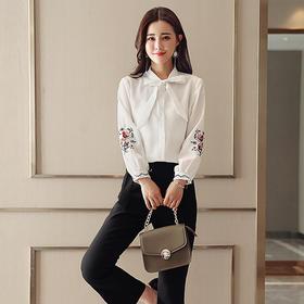 优雅绣花灯笼袖衬衣修身微喇叭裤两件套 货号HMG9967