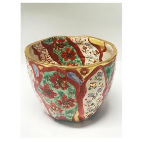 山笑 赤五彩描金手工陶瓷冰桶