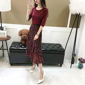 长裙女2018春夏新款两件套装ins超火度假裙子高腰雪纺 碎花连衣裙