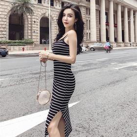 夏季性感条纹针织修身长款吊带连衣裙 货号ZYG9610Z