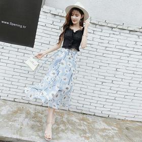 雪纺一片式半身裙夏女韩版2018新款显瘦不规则中长款高腰碎花裙