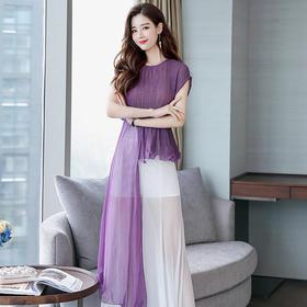 夏装气质轻薄紫色套装裙摆阔腿裤不规则收腰两件套 货号YQH708