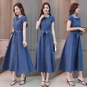 2018夏装新款韩版修身显瘦中长款A字裙子气质短袖棉麻连衣裙XFL066