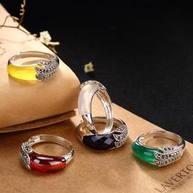 (捡漏款)YLY002-3马克赛石镶嵌黄绿玉髓戒指TZF