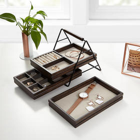 Umbra 实木三层阶梯首饰收纳架 耳环戒指珠宝展示架 多层简约 欧式木质饰品盒