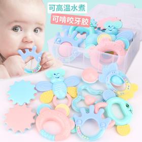 摇铃玩具 婴儿 手摇铃 宝宝0-13-12个月软胶手抓可啃咬磨牙可水煮