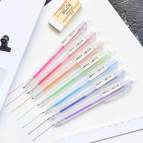 磨砂彩色按动笔透明杆水笔0.5mm 文具