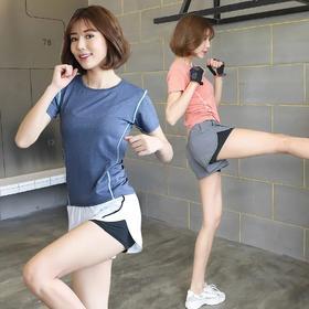 韩版时尚休闲运动学生跑步短裤短袖两件套
