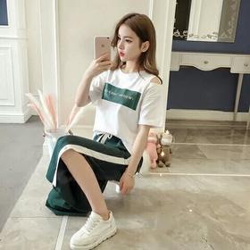 休闲运动套装女夏2018新款韩版学生开叉阔腿裤时尚运动服两件套潮