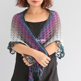 小辛娜娜黑莓披肩编织材料包钩织大人三角披肩水果线钩编线段染线