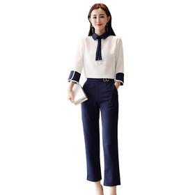 【寒冰紫雨】   春秋装新款女装韩版洋气两件套时尚淑女气质显瘦时髦套装裤潮     AAA5638