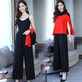 【寒冰紫雨】  时髦吊带连体裤两件套套装女装夏季新款 黑色连衣裤斗篷衫罩衫 红色 S   AAA5650