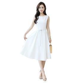 【寒冰紫雨】   潮牌夏季纯色简约大气一字领无袖收腰修身时尚气质中长款连衣裙 白色 M     AAA5644