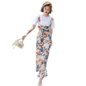 【寒冰紫雨】名媛小清新两件套装女  矮个子仙女夏装印花连体裙坊棉麻套装    AAA5640