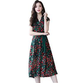 【寒冰紫雨】   夏季新款女装 韩版时尚优雅修身显瘦大摆印花连衣裙女  AAA5648