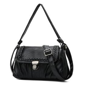 【寒冰紫雨】 新款女包小方包斜挎包单肩包女士中老年妈妈包包软皮百搭手提包潮 黑色  AAA5655