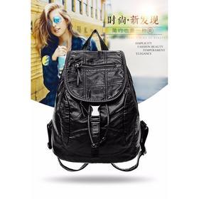 【寒冰紫雨】 双肩包学生韩版时尚女包百搭休闲书包旅行背包潮 黑色  AAA5659