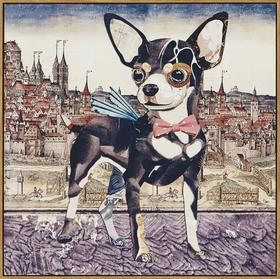 狗狗的环球旅行 装饰画 个性家居挂画