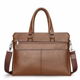 【寒冰紫雨】  男包公文包横款男士包包商务手提包单肩跨皮包手拎文件包 黑色   AAA5667
