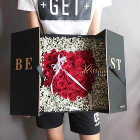 33朵红玫瑰炽爱双开礼盒鲜花同城速递送爱人表白生日送花靖江花店