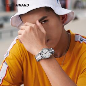 新加坡 HYPERGRAND 时尚情侣石英腕表 尼龙表带 银白色NW01FBCM-S 38mm