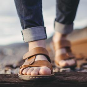 【硬朗帅气】牛皮柔软休闲凉鞋