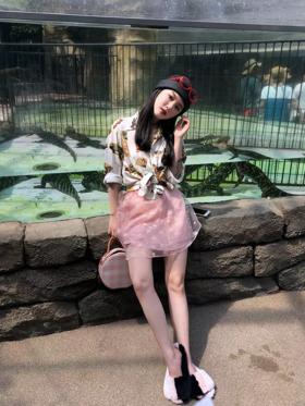 粉色雏菊多层薄纱半裙