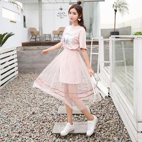 女装韩版印花T恤ins超火网纱连衣裙两件套