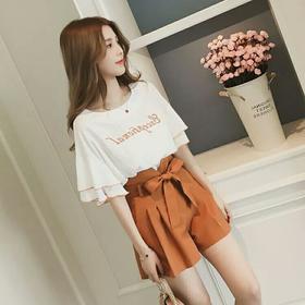 夏季学生时尚帅气网红两件套装女韩版闺蜜小香风雪纺上衣短裤港味