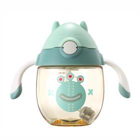 宝宝卡通学饮杯儿童吸管杯婴儿带手柄防漏重力球防摔水杯280ML