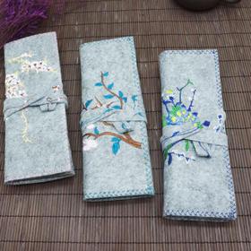 古风刺绣笔帘卷笔袋大容量 中国风毛笔钢笔铅笔收纳包 复古小清新