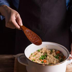 日式和风木质餐具 楠木鱼型勺子/盛饭勺 大漆色