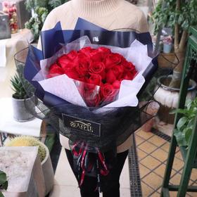 红玫瑰33朵花束