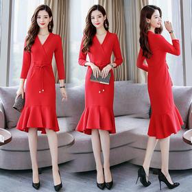 【寒冰紫雨】 气质女神范连衣裙衣服女人味时   新款OL优雅修身显瘦鱼尾连衣裙 红色 XL    AAA5673