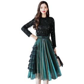 【寒冰紫雨】  女款2件套装女 简约流苏珠片蕾丝上衣服+春秋装半身裙子时髦装      女士2件套装女      AAA5679