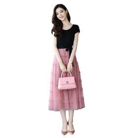【寒冰紫雨】 假两件撞色拼接连衣裙高腰系带收腰裙新款女修身显瘦中长款 粉色 M  AAA5691