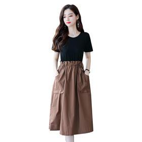 【寒冰紫雨】 连衣裙新款 女装收腰显瘦连衣裙夏天气质裙子  时尚假两件套裙 图片色 M  AAA5683