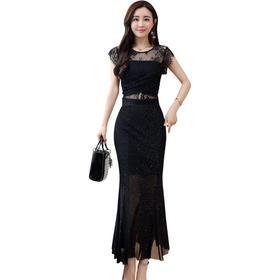 【寒冰紫雨】 夏款韩版修身时尚女装长款裙子气质蕾丝显瘦中长裙连衣裙 黑色 M AAA5686