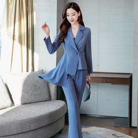【寒冰紫雨】 时髦女款2件套装女 长袖不规则西装+开叉喇叭裤子长裤  女士2件套装女    AAA5675