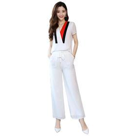 【寒冰紫雨】  女款2件套装女 条纹大V领上衣服+纯色休闲松紧系带长裤子   女士2件套装女     AAA5692