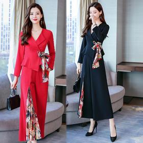 【寒冰紫雨】 时髦女款2件套装女 简约时尚小西服+长裤子   女士2件套装女     AAA5676