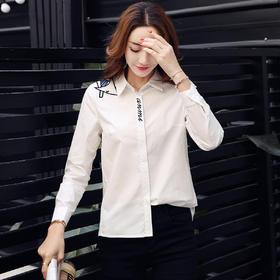 【寒冰紫雨】新款韩版清新修身休闲长袖衬衫女时尚百搭打底衬衣女上衣潮 白色 M AAA5674