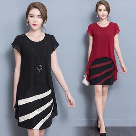 【寒冰紫雨】夏装新款短袖雪纺连衣裙 中老年妈妈装大码修身显瘦假两件连衣裙子 黑色 5XL AAA5681